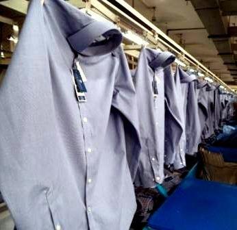 Dress Shirt on Conveyor in a RMG factory of Bangladesh