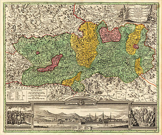 Duchy of Carinthia - Early 18th century map of Carinthia showing fiefs owned by Salzburg and Bamberg.