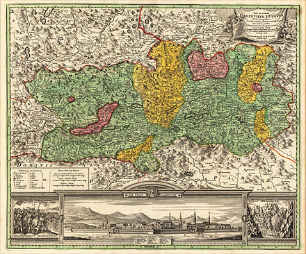 Early 18th century map of Carinthia showing fiefs owned by Salzburg and Bamberg