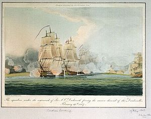 Dardanelles Operation (1807) - Image: Duckworth's Squadron forcing the Dardanelles
