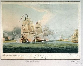 Sir John Duckworth, 1st Baronet - Duckworth's squadron forcing the Dardanelles