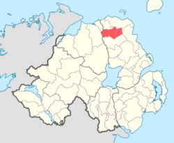 Location of Dunluce Upper, County Antrim, Northern Ireland.