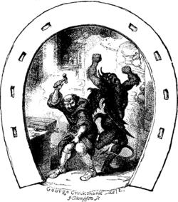 Dunstan shoeing the Devil's hoof, as illustrated by George Cruikshank