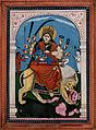 Durga mounted on a lion slaying the buffalo demon Mahishasura Wellcome V0046420.jpg