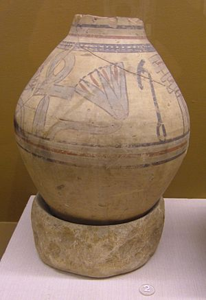 Nymphaea - Blue lotus (Nymphaea caerulea) on an 18th Dynasty jar found at Amarna