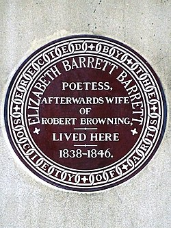 Photo of Elizabeth Barrett Browning brown plaque