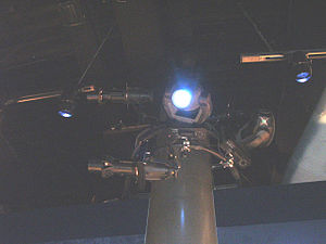 Stage lighting instrument - Floodlights (the intelligent lights) and spotlights (the Source Fours) in use at the USMC museum.