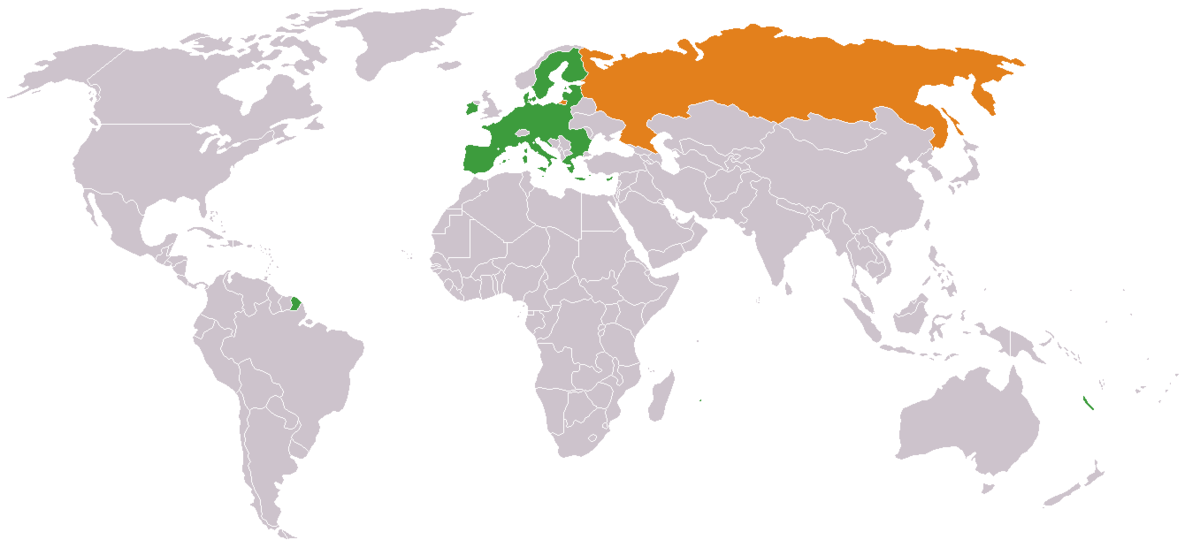 RussiaEuropean Union Relations Wikipedia - Russia on a world map