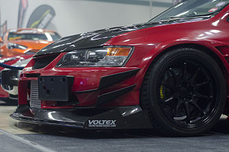 Body kit - Evo IX side view of the front grille fitted with Voltex kit.
