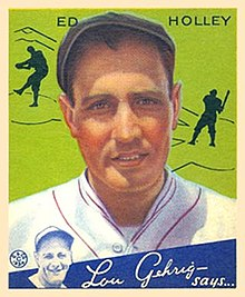 A baseball card image of a man in a white baseball uniform with red trim and a black newsboy hat