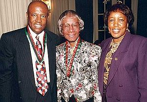Edolphus Towns - Edolphus Towns and wife Gwen meet with Shirley Chisholm (center)