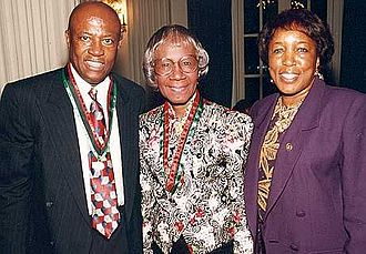 Shirley Chisholm - Shirley Chisholm (center) with Congressman Edolphus Towns (left) and his wife, Gwen Towns (right)
