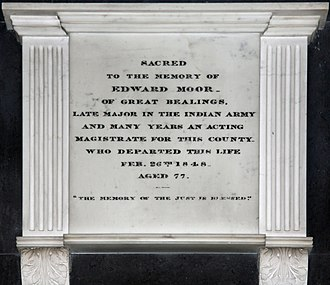 Edward Moor - The memorial to Edward Moor in Great Bealings church