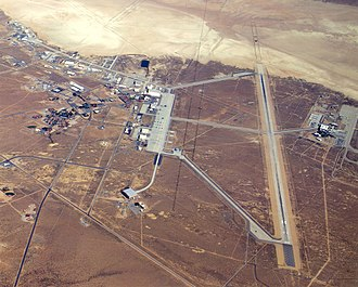 Happy Bottom Riding Club - A pilot's view of Edwards Air Force Base, California, showing the main base area, located beside Rogers Dry Lake.