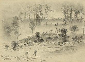 Burnside's Bridge - Charge of the 51st New York Infantry and 51st Pennsylvania Infantry regiments across Burnside's Bridge, by Edwin Forbes.