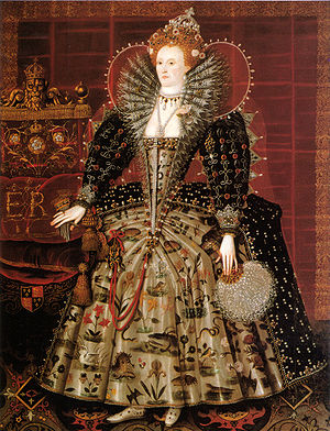 Anglo-Moroccan alliance - Elizabeth I of England c.1599, standing on an Oriental carpet. Studio of Nicholas Hilliard.