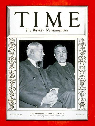 Elmer Thomas and Charles Coughlin on Time magazine 1934