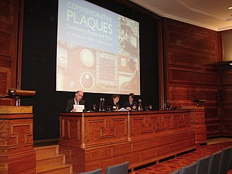 English Heritage - English Heritage commemorative plaques conference, 2010. English Heritage began administering the London Blue Plaques in 1986.