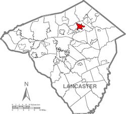 Location of Ephrata in Lancaster County