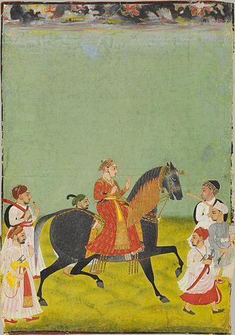 Raj Singh II - Equestrian portrait of Maharana Raj Singh II