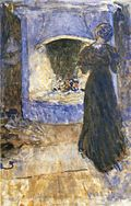 Ester in the cottage, aquarell by John Bauer 1907.jpg