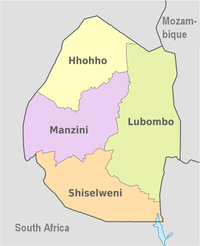 A clickable map of Éwatini exhibiting its four districts.