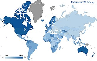 Eudaimonia - Eudaimonic well-being in 166 nations based on Gallup World Poll data