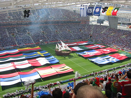 The UEFA Euro 2004 opening ceremony in Portugal. Euro2004OpeningCeremony.jpg