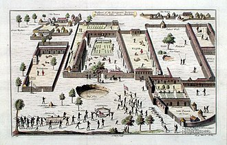 Dutch Slave Coast - Prospect of the European factories at the Royal Palace of Savi. Included are the Portuguese, English, French and Dutch factories. The Dutch factory is at the bottom right.