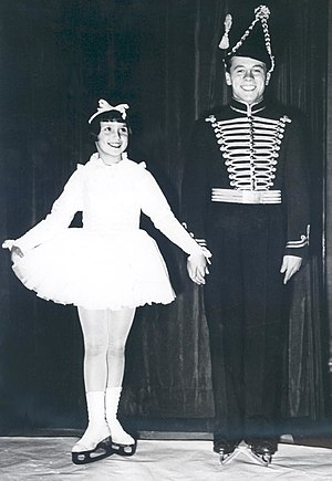 "Felix Kaspar - World Champion Felix Kaspar together with child prodigy and later European Champion Eva Pawlik (""The Fairy Tale Of The Steady Tin Soldier"", Vienna 1937)"