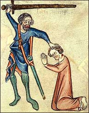 Battle of Burton Bridge (1322) - A medieval depiction of the execution of Thomas, Earl of Lancaster