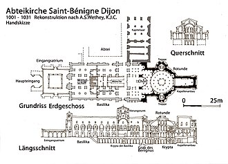 Dijon Cathedral - Reconstruction of William of Volpiano's Abbey by Ann Wethey and Kenneth Conant