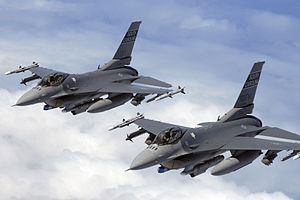 157th Fighter Squadron - Swamp Foxes in the air. Demon flight of F-16 pilots from the 169th Fighter Wing, South Carolina Air National Guard flies a training mission in the KIWI MOA airspace over the coast of North Carolina.