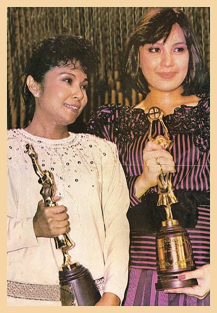 330d0d7603aa Aunor and Sharon Cuneta at the 33rd FAMAS Awards both won the coveted Best  Actress Award in 1985