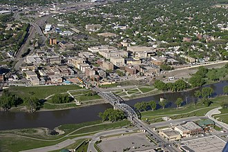 Grand Forks, North Dakota - Aerial view of downtown Grand Forks in 2006
