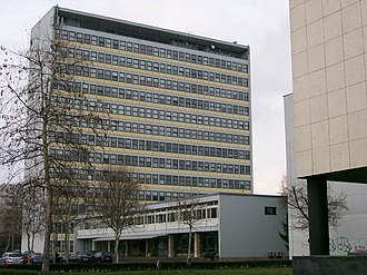 Faculty of Electrical Engineering and Computing, University of Zagreb - Faculty of Electrical Engineering and Computing's Modernist style Building C tower (built 1956), and Building B.