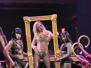 "(Drop Dead) Beautiful - Spears performing ""(Drop Dead) Beautiful"" at the Femme Fatale Tour, 2011."