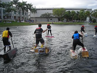 Florida International University School of Architecture - The 2008 Walk on Water race held annually is a tradition of FIU SoA alumni and students.