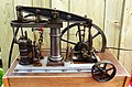 Fairbairn Pattern Beam Engine model, 1860 - detail of flywheel, column, extra drive, etc.jpg