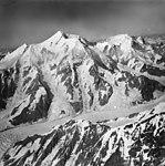 Fairweather Glacier, mountain glacier with icefall feeding into the main glacier, August 22, 1965 (GLACIERS 5440).jpg