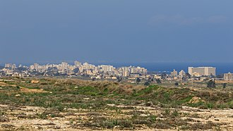 Buffer zone - View of the Cyprus buffer zone between Paralimni and Famagusta, with the ghost town of Varosha in the background