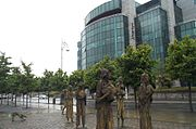 Famine sculpture in front of the International Financial Services Centre Dublin 2006