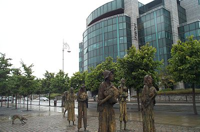 Famine sculpture in front of the International Financial Services Centre Dublin 2006.jpg