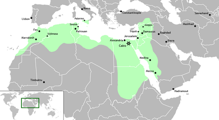 The Fatimid Caliphate at its greatest extent, showing Jerusalem - History of Palestine