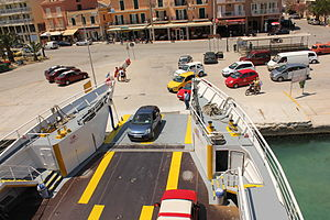 Ferry loading at, Argostoli, Kephalonia, Greece