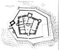 Fig 134, castello di Fenis, pianta del pianterreno e delle cinte, luglio 1936, disegno Nigra.tiff