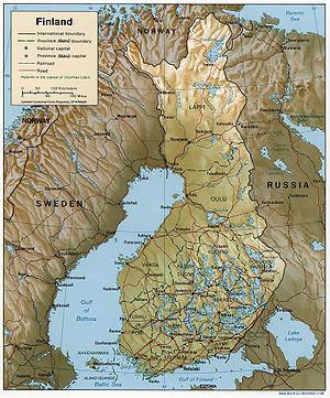 Detaljerad engelsk karta över finland