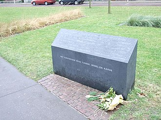 "Enschede - Monument commemorating the 2000 fireworks disaster. The inscription says, ""The vanished house between heaven and earth."""