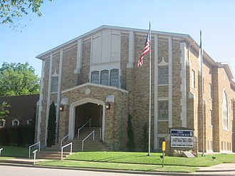 Caldwell, Texas - The First Baptist Church is located in a residential area at 501 West Mustang Street in Caldwell.