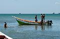 Fishermen returning from fishing in El Guamache, Margarita Island 2.jpg